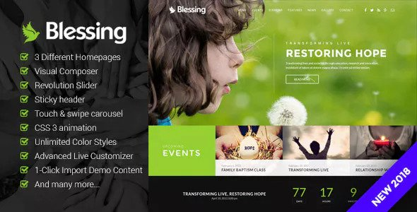 Blessing v1.5.2 — Responsive Theme for Church Websites
