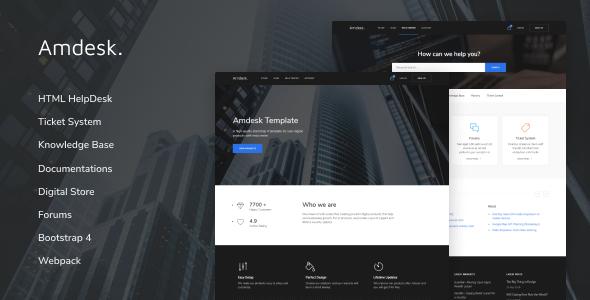 Amdesk — HelpDesk and Knowledge Base HTML template