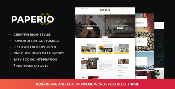 Paperio v1.6 — Responsive and Multipurpose Blog Theme