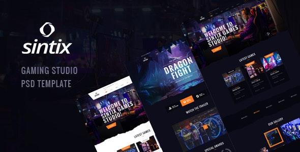 Sintix v1.0 — Gaming Studio PSD Template