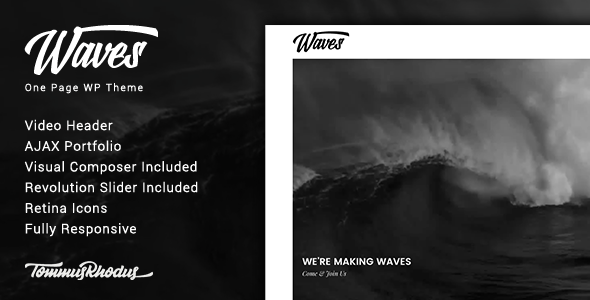 Waves v1.0.3 — Fullscreen Video One-Page WordPress Theme