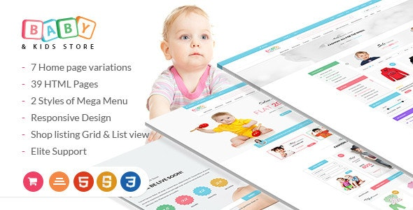 Baby & Kids Store — eCommerce HTML Template with RTL Package