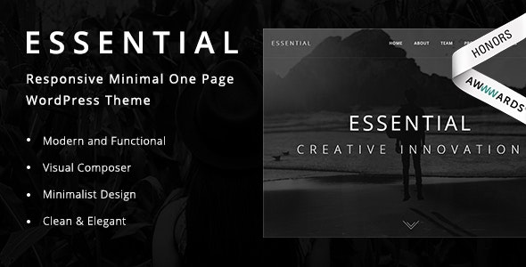 Essential v1.9 — Responsive Minimal One Page WordPress Theme