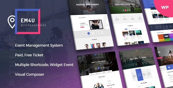 Event EM4U v1.3.1 — Multiple Event Booking Conference Ticket, QR Code Calendar WordPress Theme