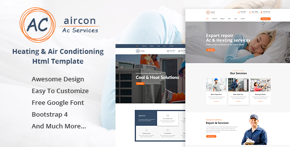 Aircon — Air Conditioning Services Bootstrap 4 Template