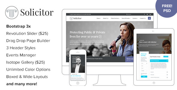 Solicitor v1.5 — Law Business Responsive WordPress Theme