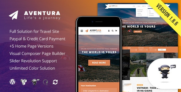 Aventura v1.8.6 — Travel & Tour Booking System Theme