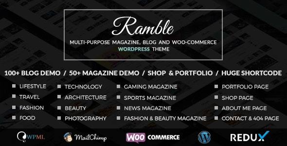 Ramble v2.0 — Multi-purpose Blog, Magazine And Woo-Commerce WordPress Theme