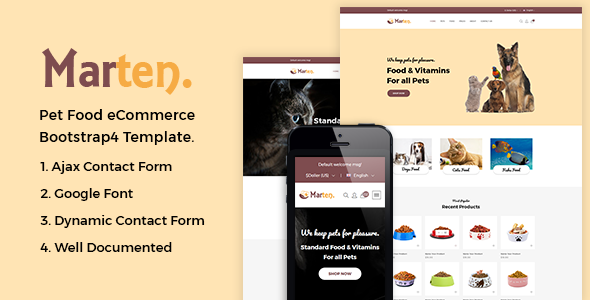 Marten — Pet Food eCommerce Bootstrap4 Template