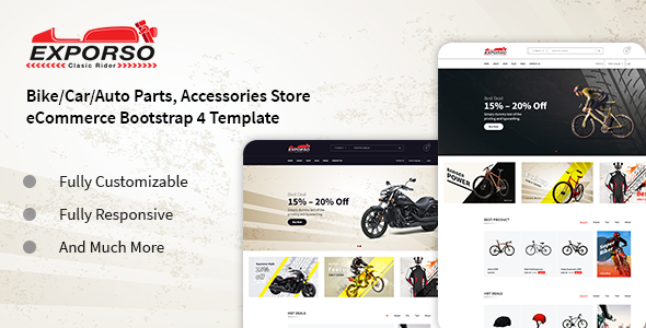 Exporso — Bike Parts & Accessories HTML Template