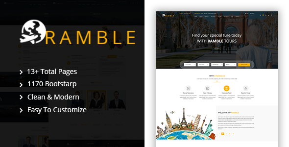 Ramble — Tour & Travel Agency HTML Template