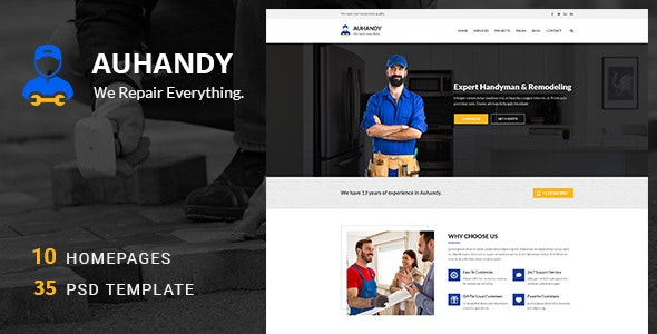 Handyblue — Handyman and Repair Services PSD Template
