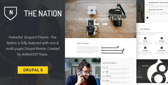 Nation v1.0 — One & multi pages Drupal 8 theme