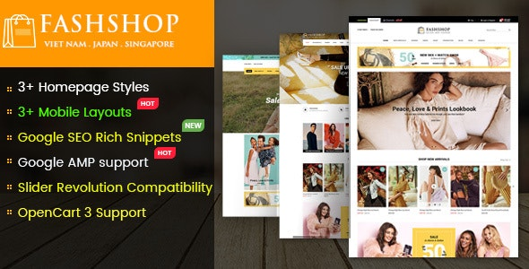 FashShop v1.0 — Multipurpose Responsive OpenCart 3 Theme with Mobile-Specific Layouts
