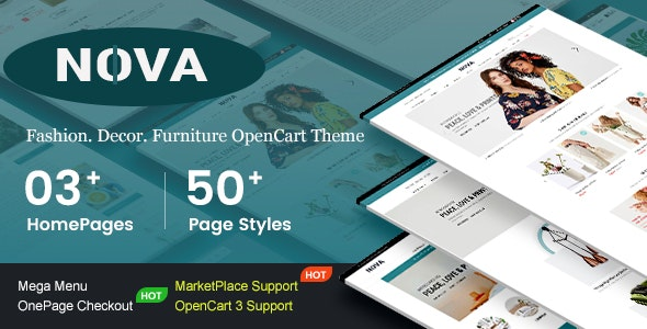 Nova v1.0 — Responsive Fashion & Furniture OpenCart 3 Theme with 3 Mobile Layouts Included