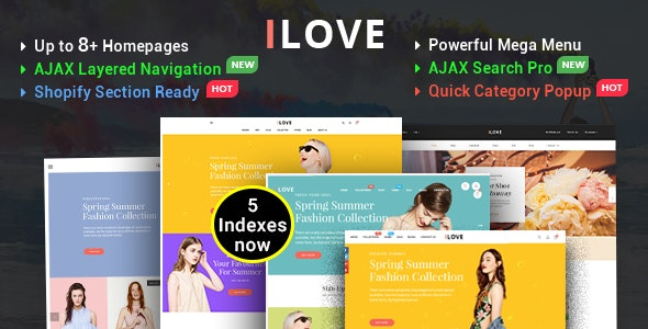 iLove — Highly Creative Responsive Shopify Theme (Sections Drag & Drop Ready)