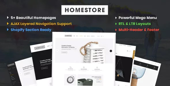 HomeStore v1.0 — Modern, Minimal & Multipurpose Shopify Theme with Sections