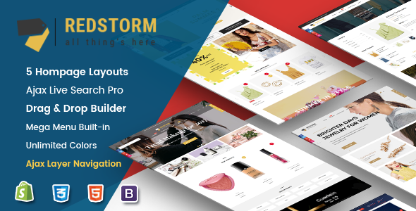 RedStorm v1.0.1 — Creative Drag & Drop Sectioned Responsive Shopify Theme