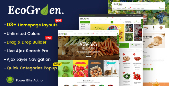EcoGreen v1.0.1 — Multipurpose Organic, Fruit, Vegetables Shopify Responsive Theme