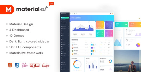 Materialart v1.0 — Powerful Material Admin Template