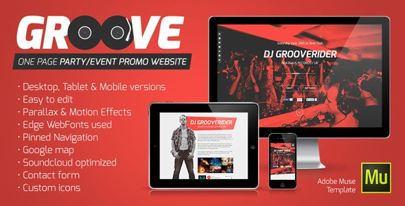 Groove v1.1 — OnePage Party / Event Promo Muse Template