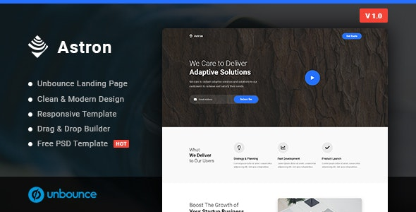 Astron v1.0.0 — Business Unbounce Landing Page Template