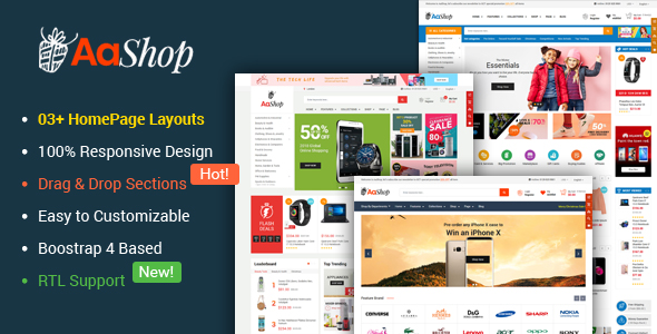 AaShop v1.0.1 — Responsive & Multipurpose Sectioned Bootstrap 4 Shopify Theme