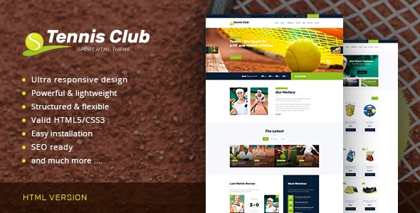 Tennis Club v1.0 — Sports & Events Site Template