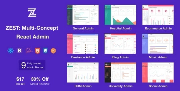 Zest v1.0 — Multi-Concept React Admin Template