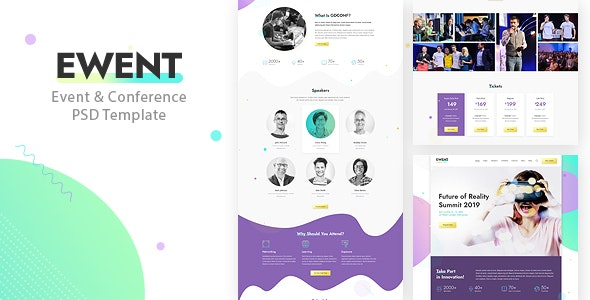 Ewent — Event & Conference PSD Template