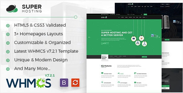 Super Host — WHMCS & HTML Template For Web Hosting & Technologies Company