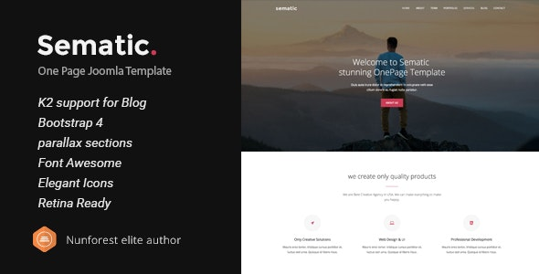 Sematic v2.0 — One Page Joomla Template