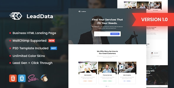LeadData v1.0 — Lead Generation HTML Landing Page Template