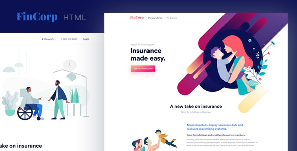 FinCorp v1.0 — Finance, Insurance & Marketing Landing Page Template