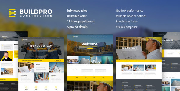 BuildPro v1.0.9.4 — Business, Building & Construction WordPress Theme