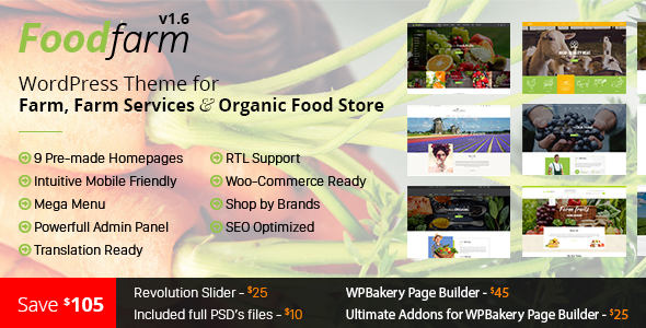 FoodFarm v1.8.0 — WordPress Theme for Farm