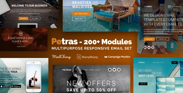 Petras 200 — Multipurpose Email Set with MailChimp Editor, StampReady & Online Builder