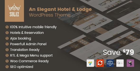 Solaz v1.1.5 — An Elegant Hotel & Lodge WordPress Theme