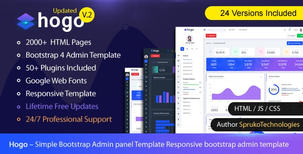Hogo v2.0 — Clean Multipurpose Responsive Bootstrap Simple Admin Panel Template