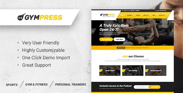 GymPress v1.3.2 — WordPress theme for Fitness and Personal Trainers