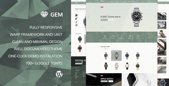 Gem v2.3.1 — Luxury eCommerce Responsive WordPress Theme