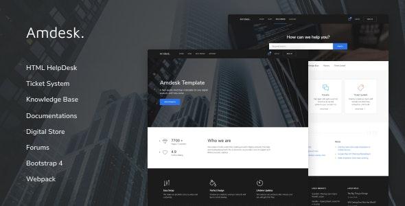Amdesk v1.0.1 — HelpDesk and Knowledge Base HTML template