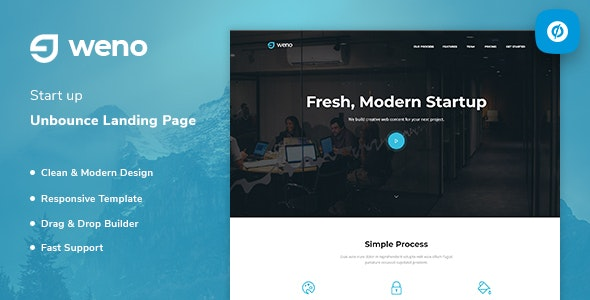 Weno v1.0 — Startup Unbounce Landing Page Template