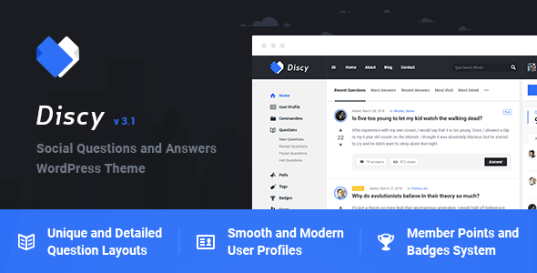 Discy v3.4 — Social Questions and Answers WordPress Theme