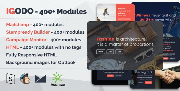 Igodo v1.0.1 — Multipurpose Email Set with 400+ Modules + MailChimp Editor + StampReady + Online Builder
