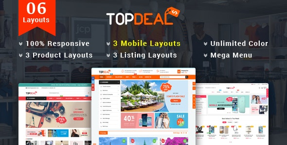 TopDeal v1.1.0 — Responsive MultiPurpose HTML 5 Template (Mobile Layouts Included)