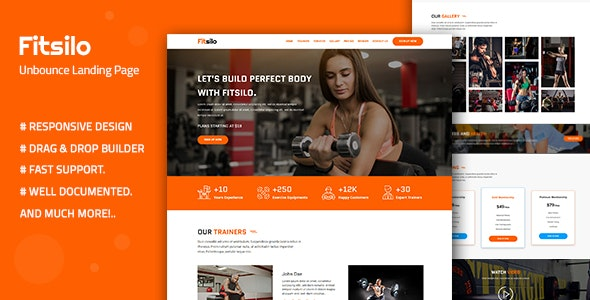 Fitsilo v1.0 — Health & Fitness Unbounce Landing Page Template