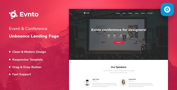Evnto — Event & Conference Unbounce Landing Page Template