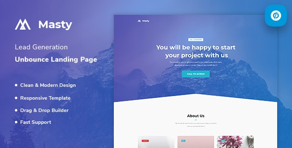 Masty v1.0 — Lead Generation Unbounce Landing Page Template