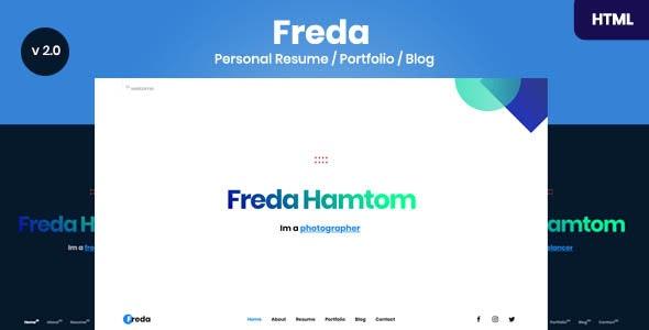 Freda v2.0 — Personal Resume / Portfolio / Blog / HTML Template